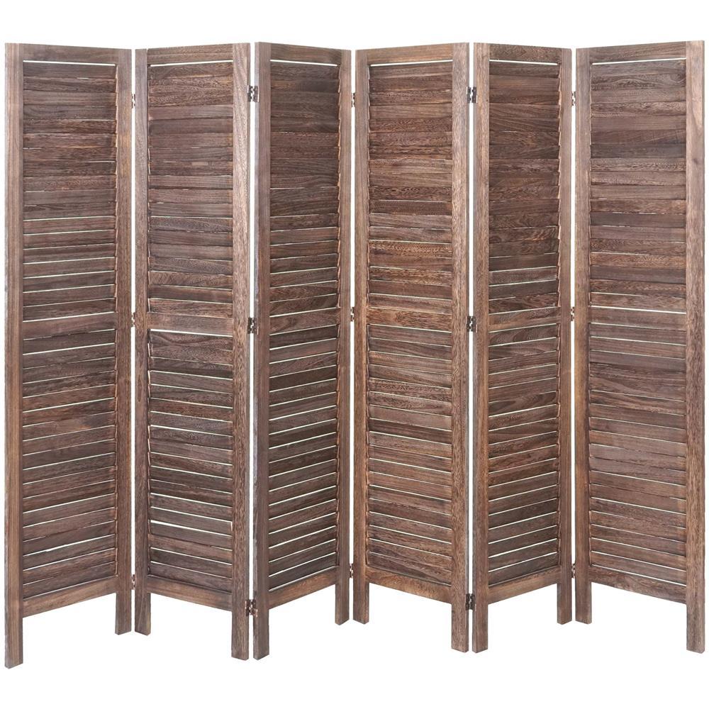 Paravento In Legno Per Esterni mendler paravento divisorio separè decorativo legno paulonia shabby hwc-g30  6 pannelli marrone