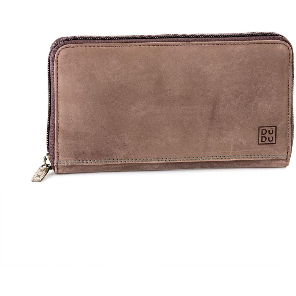 4548f3aea8 DuDu - Portafoglio Donna In Pelle Vintage Borsellino A Fisarmonica  Ventaglio Zip Around Dudu Marrone Scuro - ePRICE