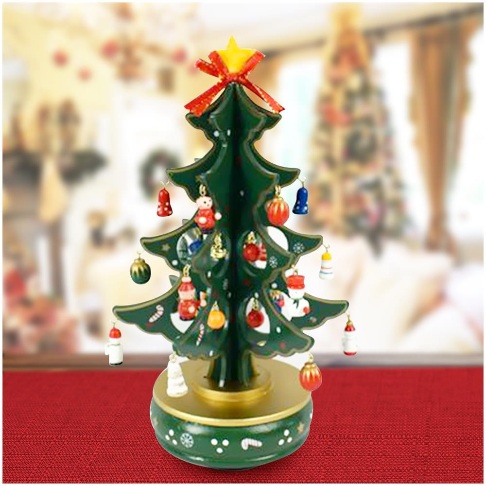 Addobbi Natalizi A 1 Euro.Bakaji Carillon Natalizio Albero Di Natale Legno Con Addobbi 29cm Decorazioni Natalizie Eprice