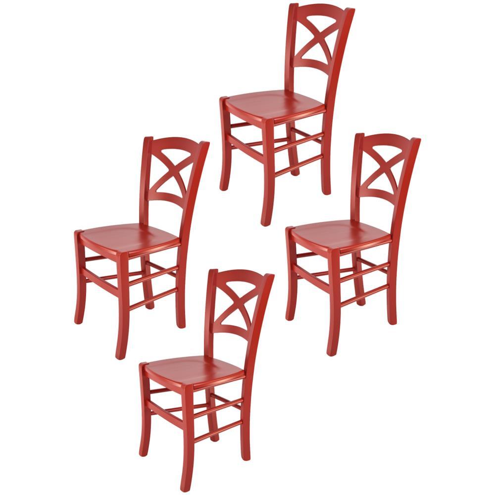 Tommychairs Set 4 sedie modello Venezia per cucina bar e sala da pranzo, robusta struttura in legno di faggio laccata bianco e seduta in paglia