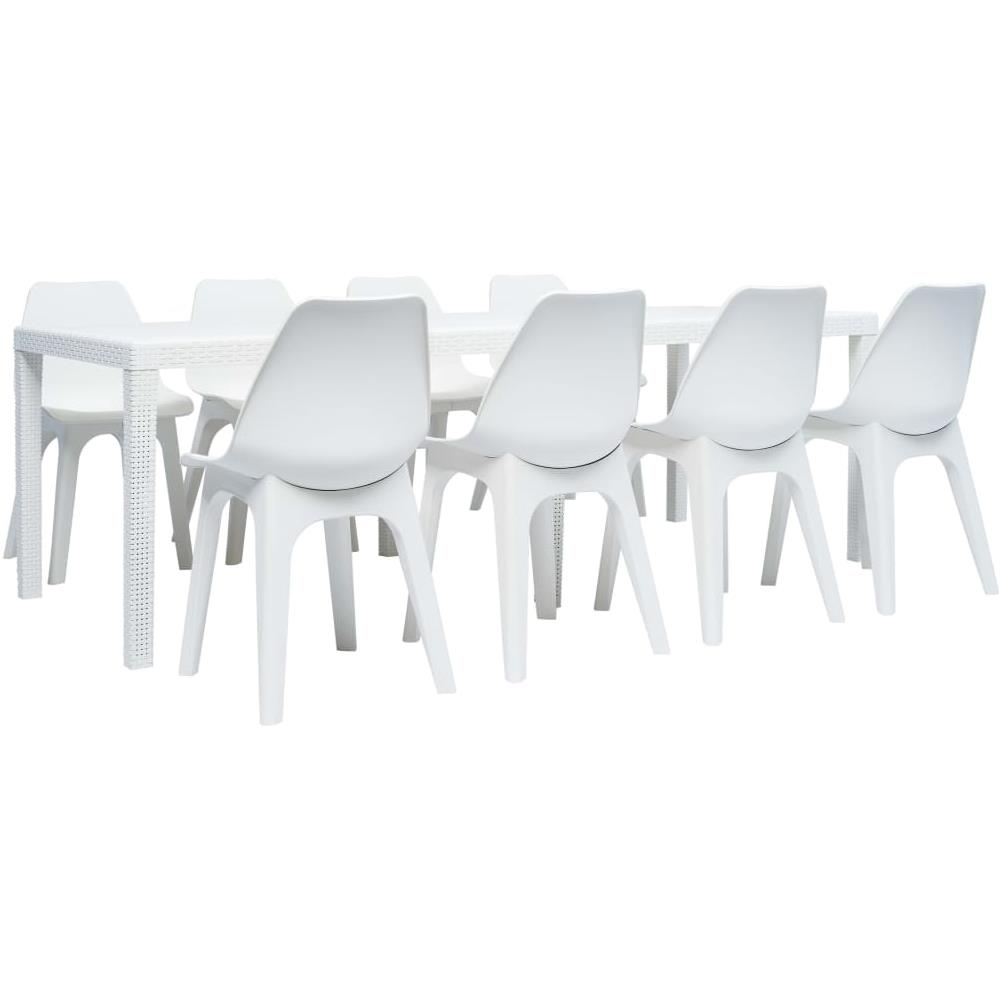 Set Pranzo Da Giardino.Vidaxl Set Pranzo Da Giardino 9 Pz In Plastica Bianco Eprice