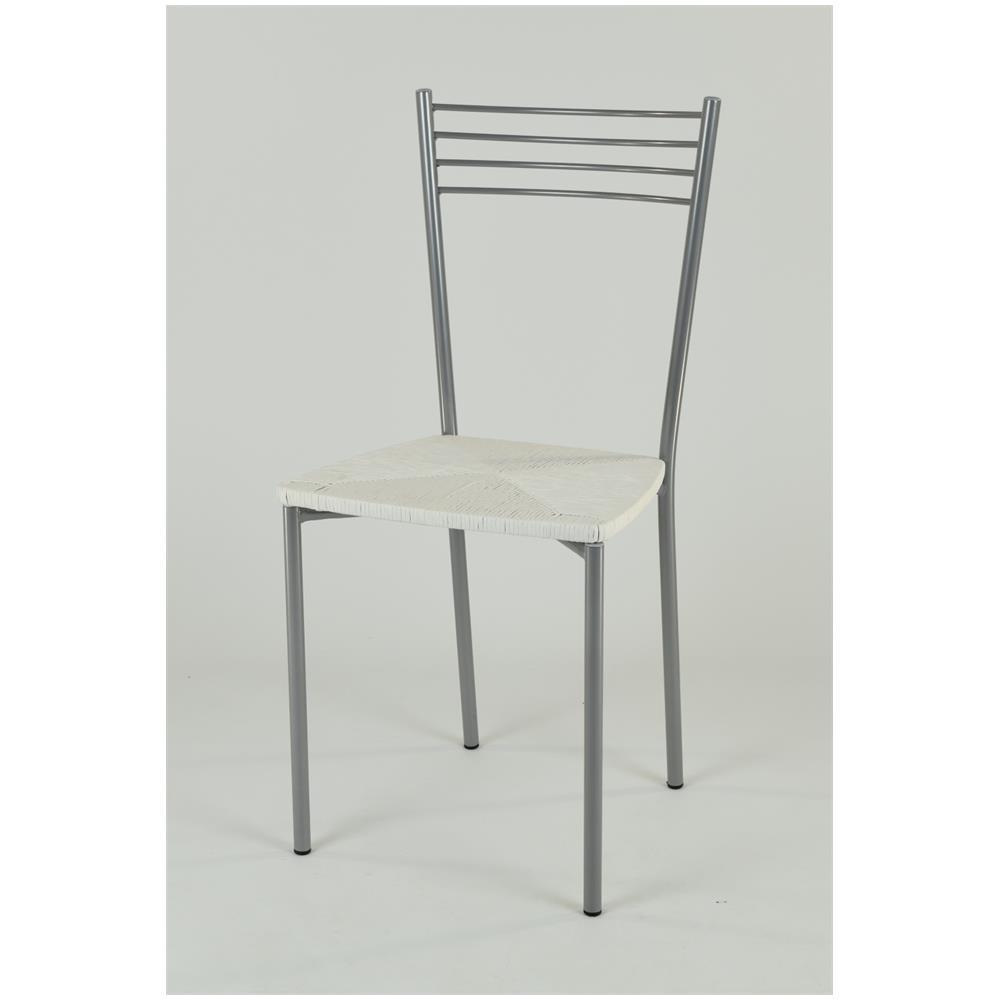 Tommychairs Set 4 Sedie Per Cucina E Sala Da Pranzo Moderne Con Robusta  Struttura In Acciaio Verniciata Color Alluminio E Seduta In Finta Paglia ...