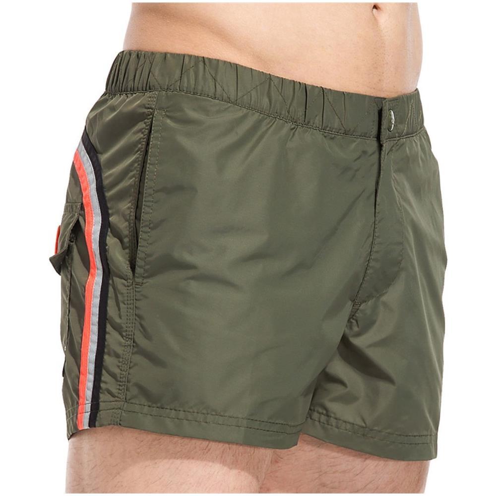 Bikkembergs Costume Mare Uomo Boxer Pantaloncino Lungo Vita Elastica Verde Mare E Piscina