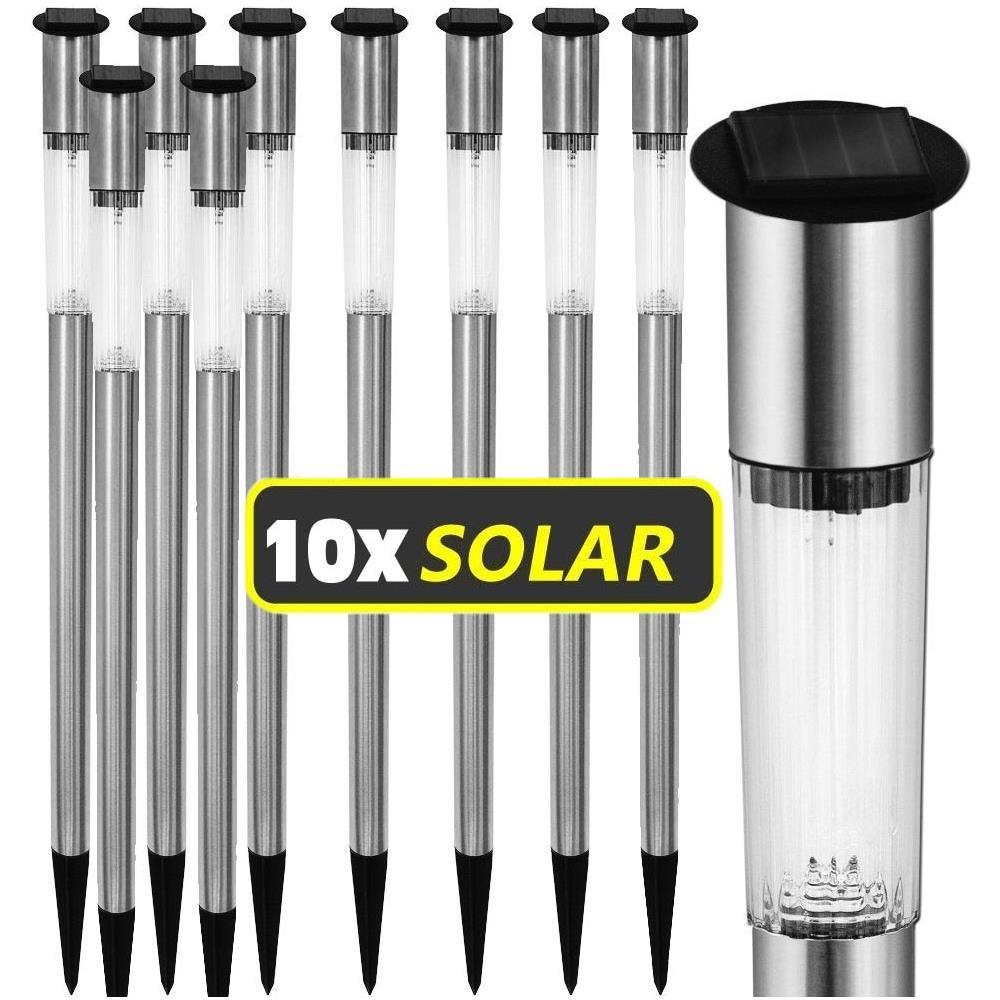 Confezione da 10 RICARICABILI DA GIARDINO LED a Energia Solare Posta Luci Acciaio Inossidabile