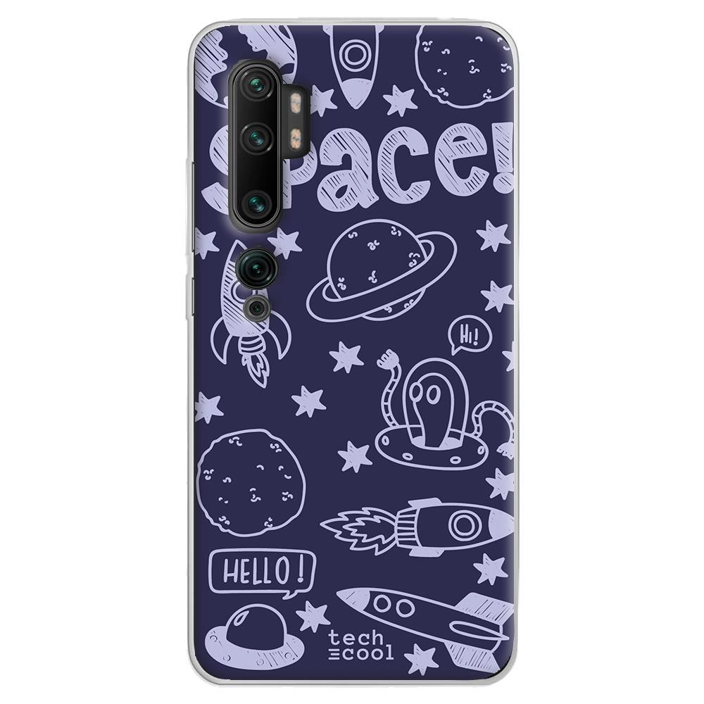 Techcool Cover, Custodia Per Huawei P40 Lite L Silicone Disegno Pianeti E Alieni Sfondo Viola