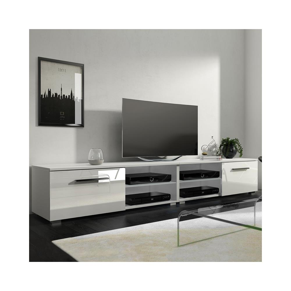Mobile Tv Bianco Lucido.Selsey Tenus Double Mobile Tv Lucido Mobiletto Porta Tv