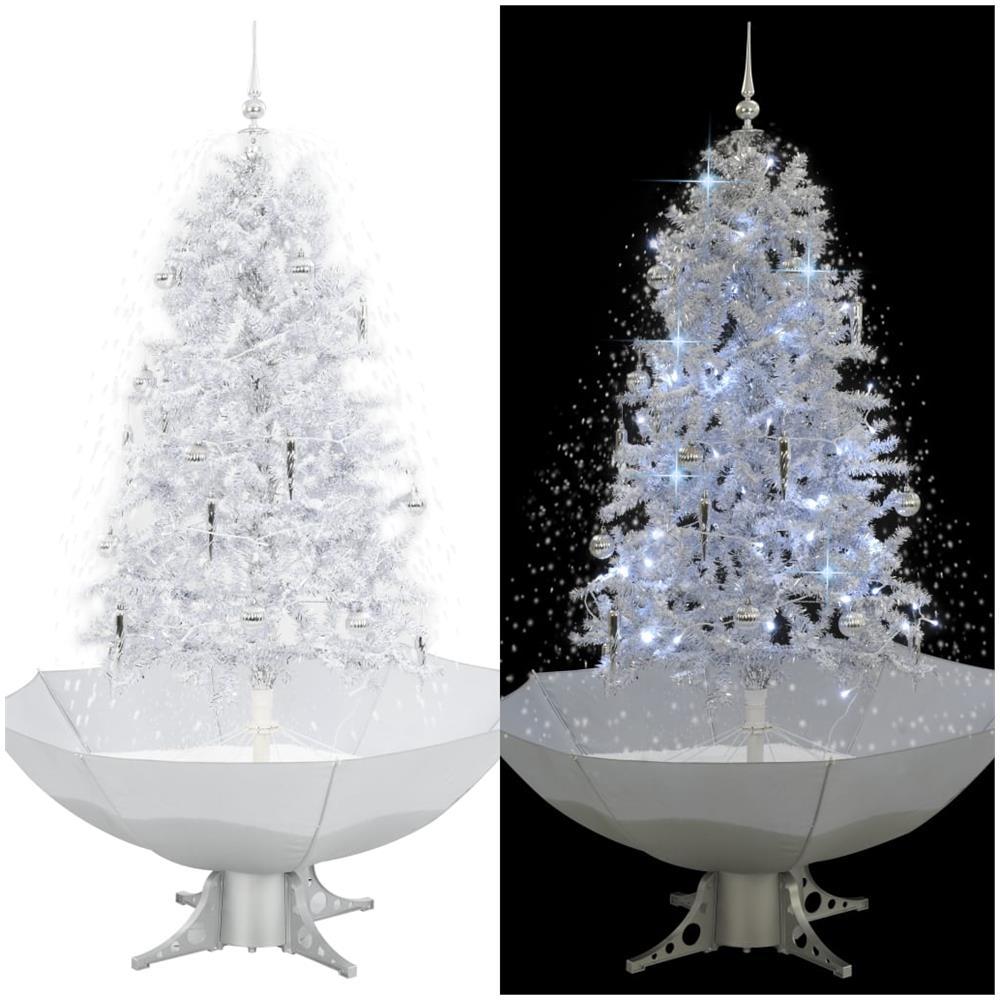 Albero Di Natale Con Foto.Vidaxl Albero Di Natale Con Neve E Base A Ombrellone Bianco 170 Cm Eprice