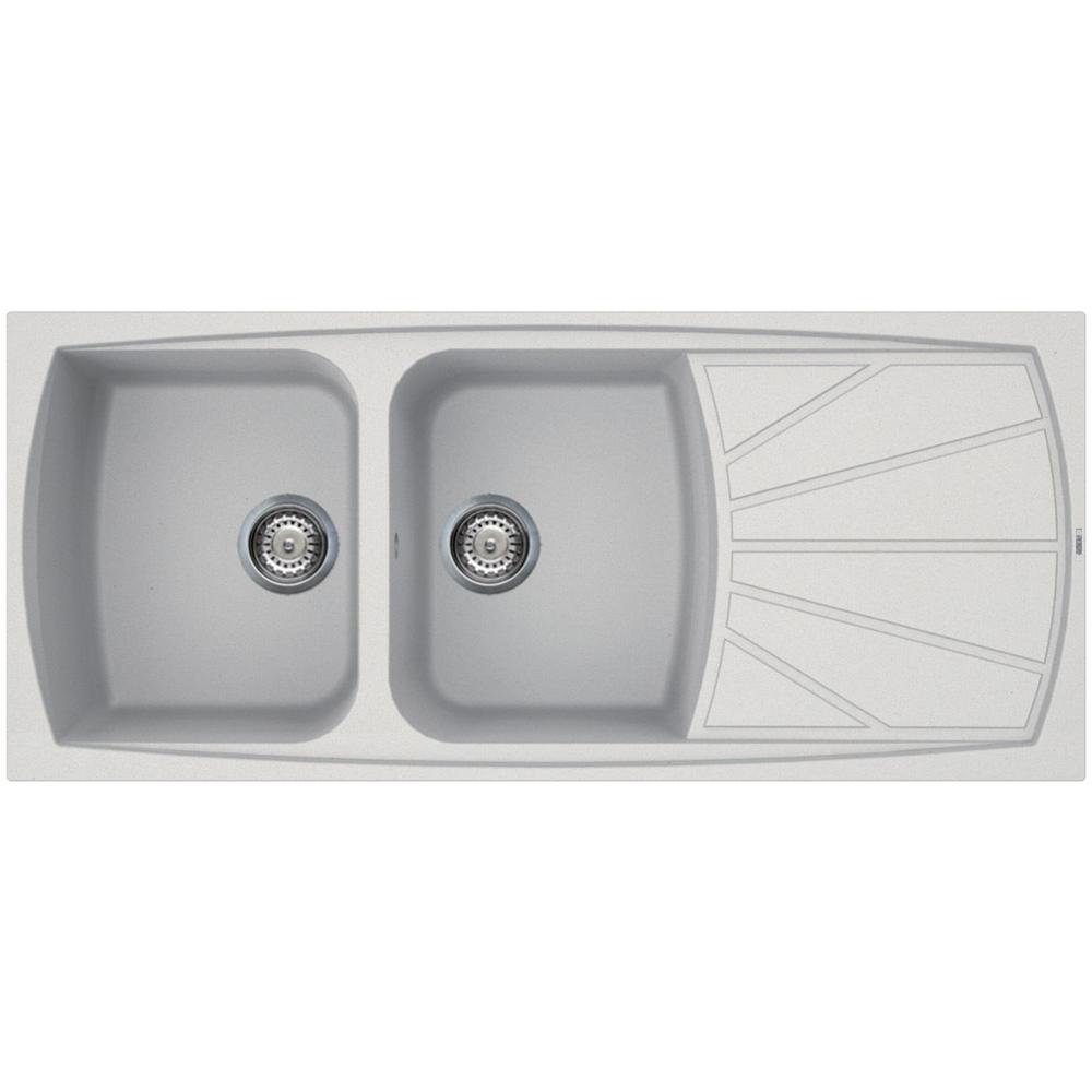 ELLECI Lavello da Cucina 2 Vasche Bianco Titano