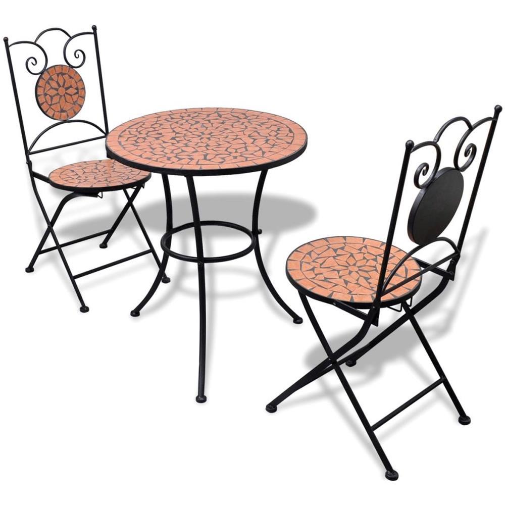 Vidaxl Tavolo Da Bistro 60 Cm Con Mosaico E 2 Sedie Colore Terracotta Eprice
