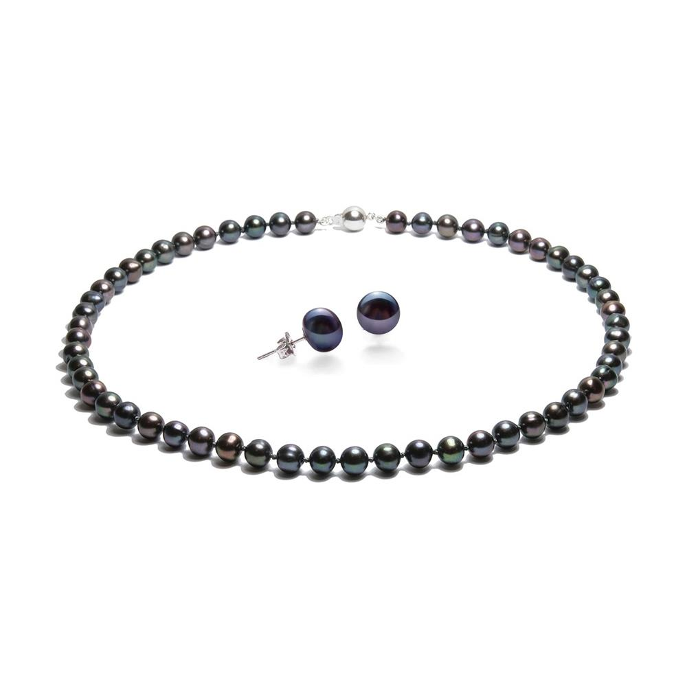8902d03386931f Blue Pearls - Parure Collana E Orecchini E Perle Coltivate Nere E Argento  925 - Bps 0011-0111 Y Noir - ePRICE