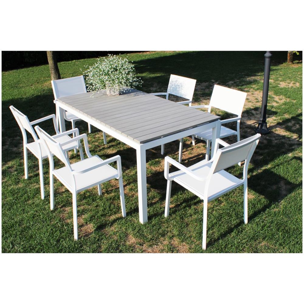 Piani Tavoli Per Esterno.Milanihome Tavolo Rettangolare Fisso In Alluminio Bianco 200 X 90