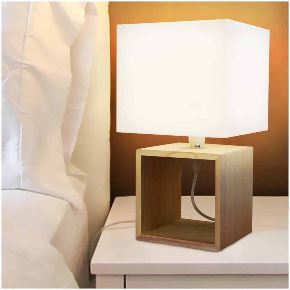 Design Lampade Da Tavolo grunding lampada da tavolo lume da comodino in legno e tessuto bianco  abatjour 33x18cm
