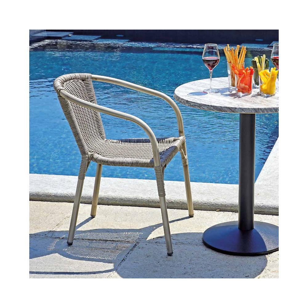 Sedie In Alluminio E Legno.Levante Giardino Sedia In Alluminio Effetto Legno Sbiancato