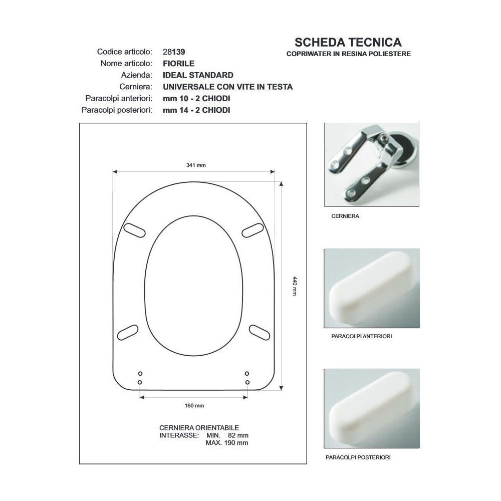 Sedile Fiorile Ideal Standard.Acb Colbam Copriwater Ideal Standard Fiorile Bianco Euro Sedile