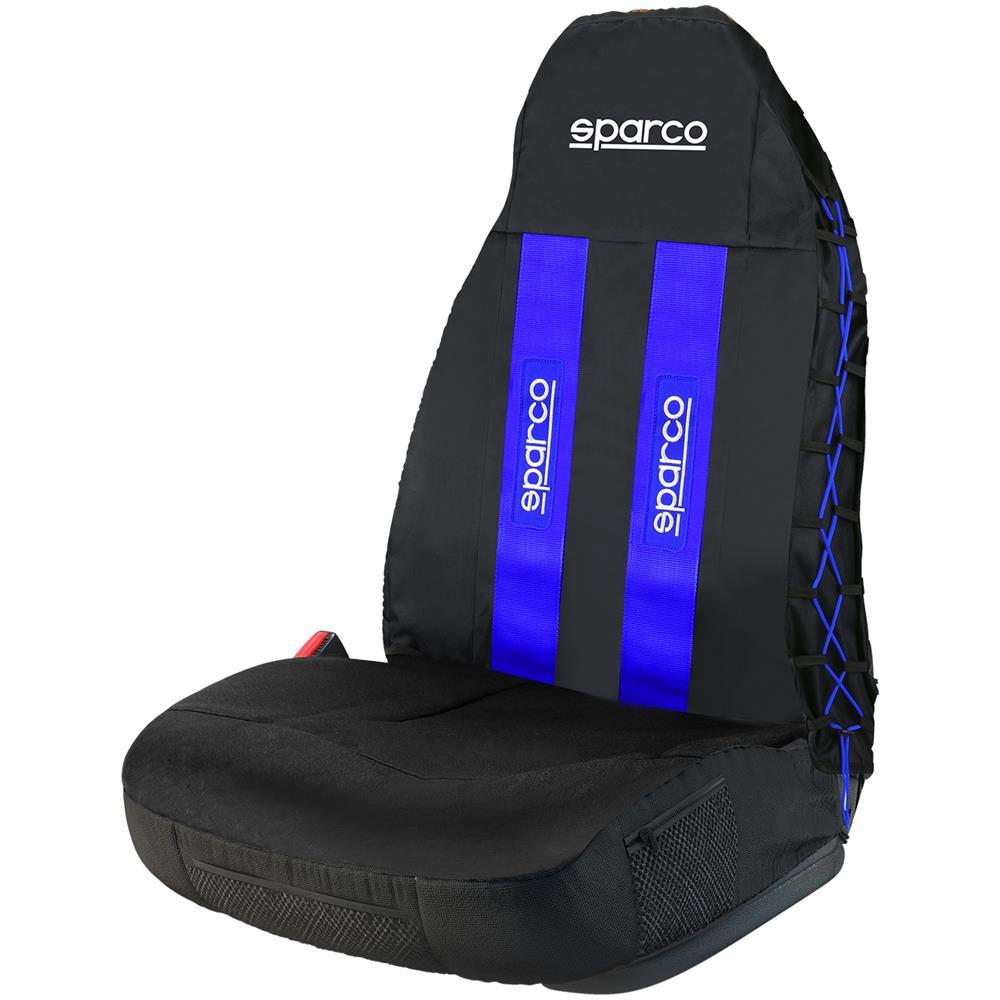 SPARCO - 3d Coprisedile Universale Auto Nero / blu Intreccio