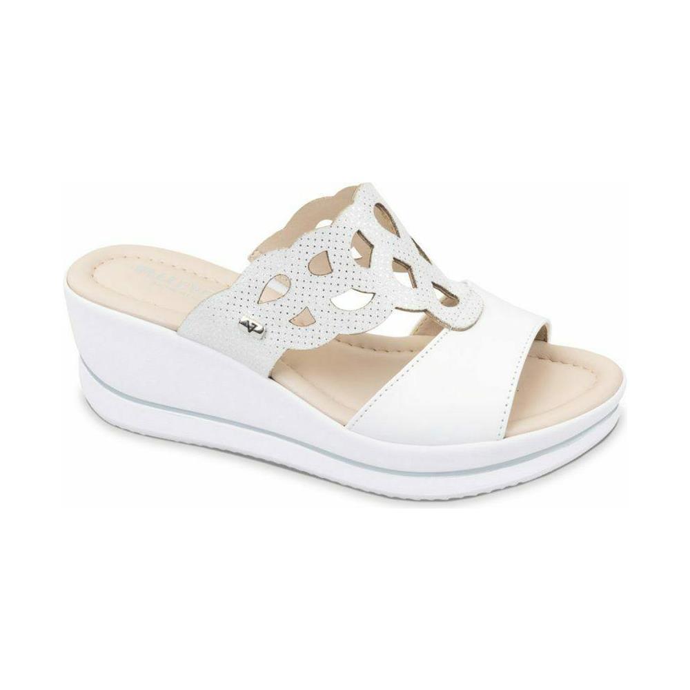 VALLEVERDE Sandalo Scarpe Zeppa Donna Bianco Pelle Bianco 40