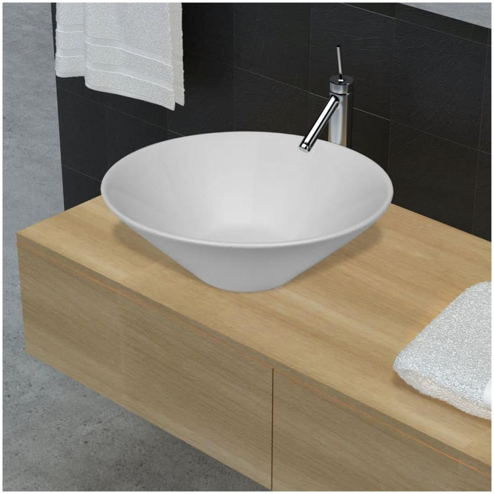 Lavello Cucina In Porcellana vidaxl lavello porcellana ceramica bacino bianco