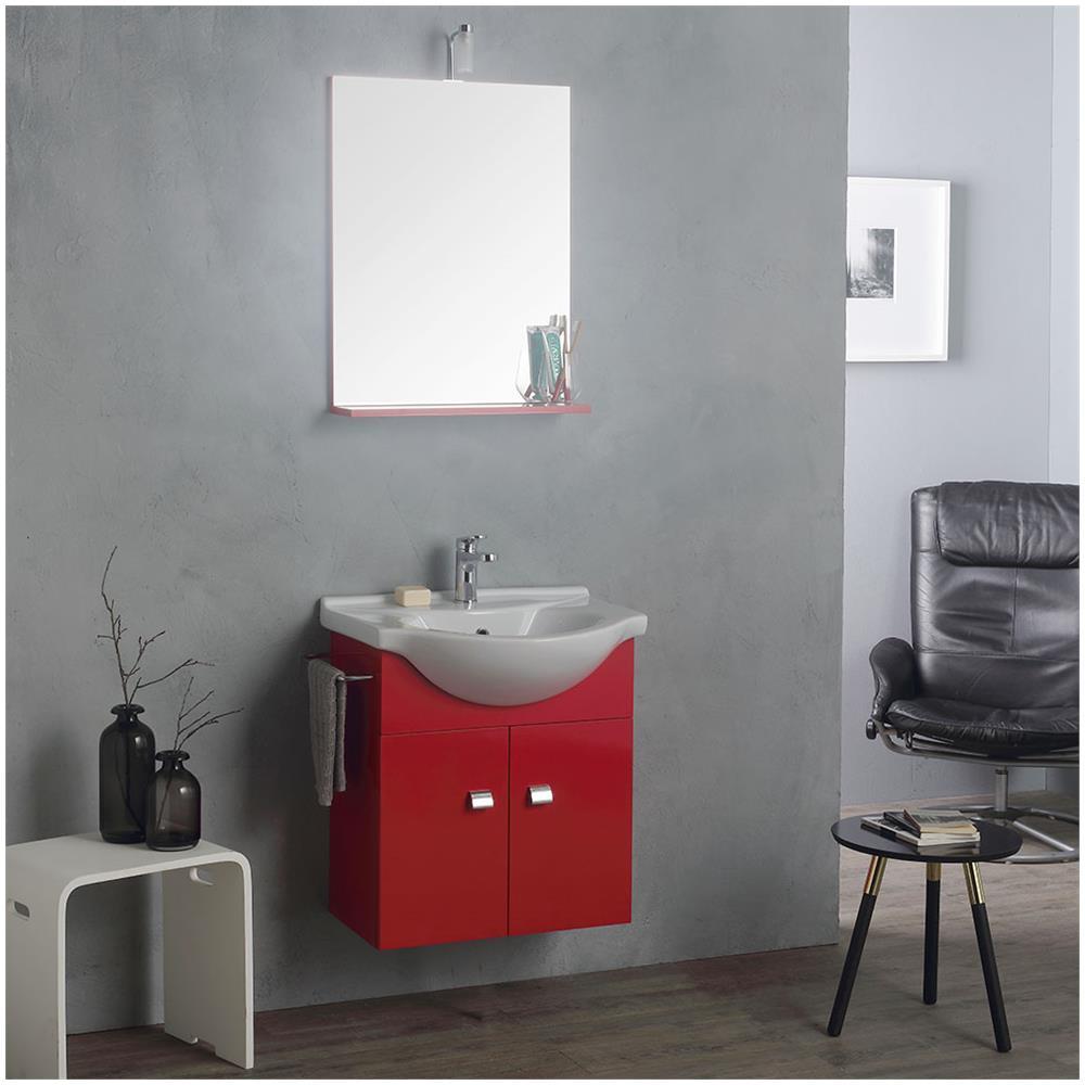 Kiamami Valentina - Mobile Lavabo 58 Cm + Specchio E Luce, Rosso ...