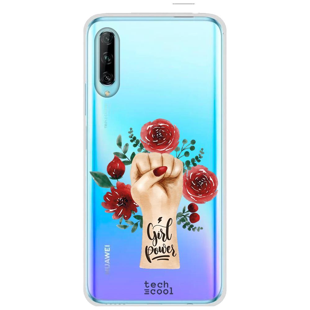 Techcool Cover, Custodia Per Huawei P40 Lite L Silicone Potenza Della Ragazza Di Disegno Trasparente Femminile Sfondo