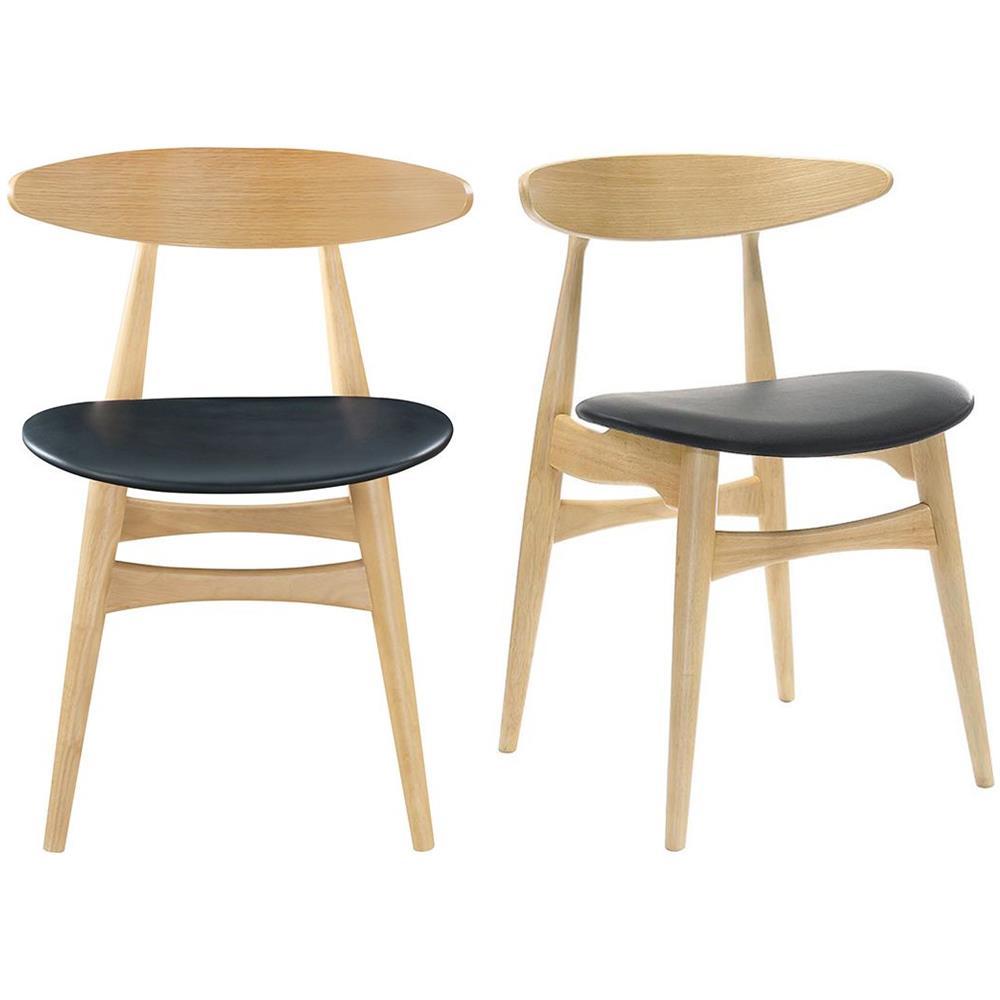 miliboo Gruppo Di 2 Sedie In Legno Chiaro E Pu Nero Design Scandinavo Giapponese Walford