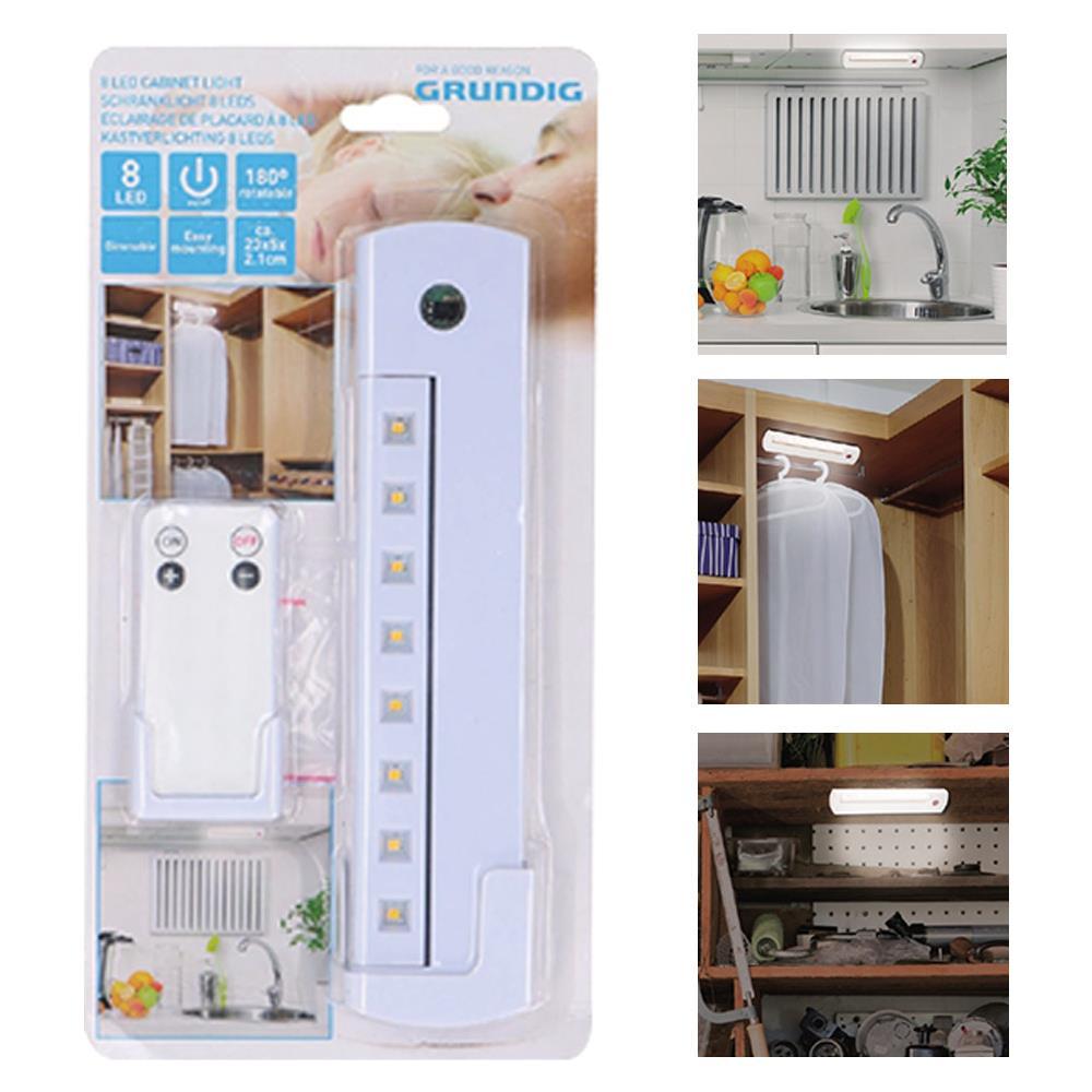 Accensione Lampadario Con Telecomando grundig lampada faretto 8 led + telecomando wireless luce notte armadio  mobili grundig