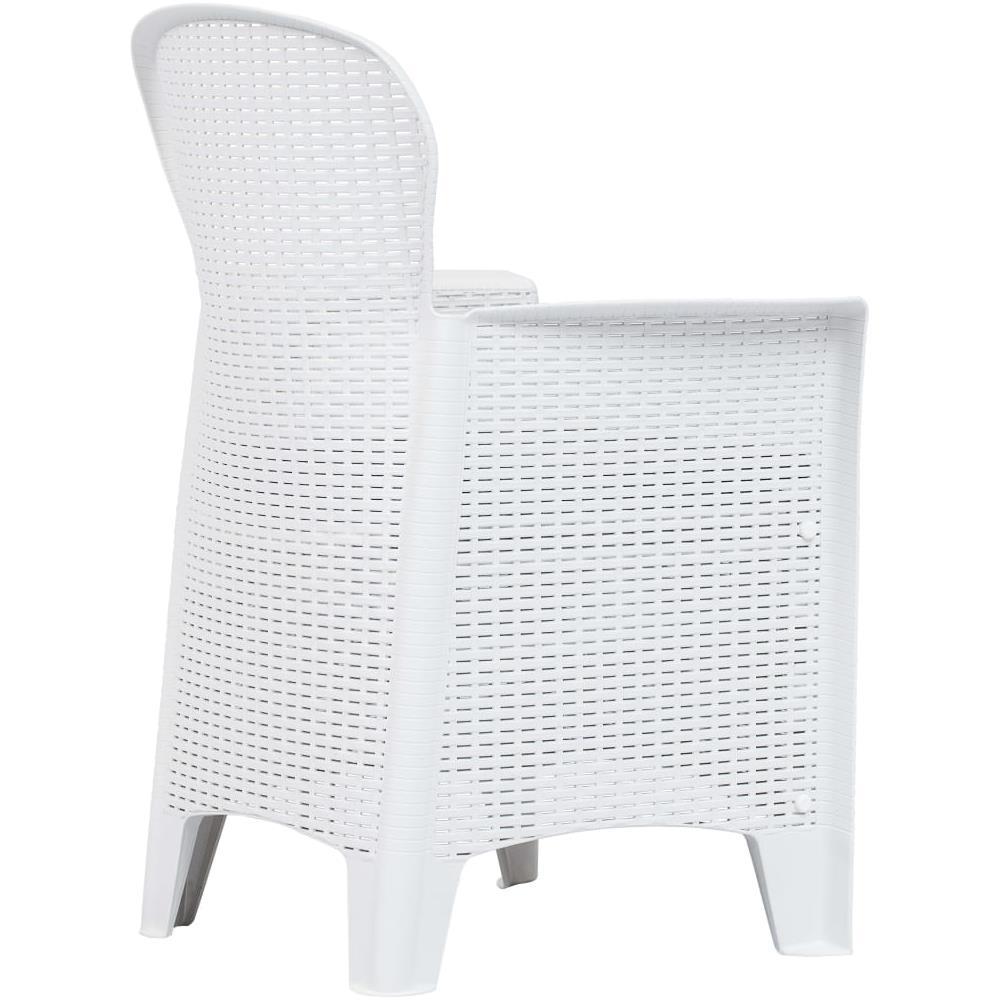 VIDAXL Sedie Da Giardino 2 Pz Cuscino Bianche In Plastica Stile Rattan