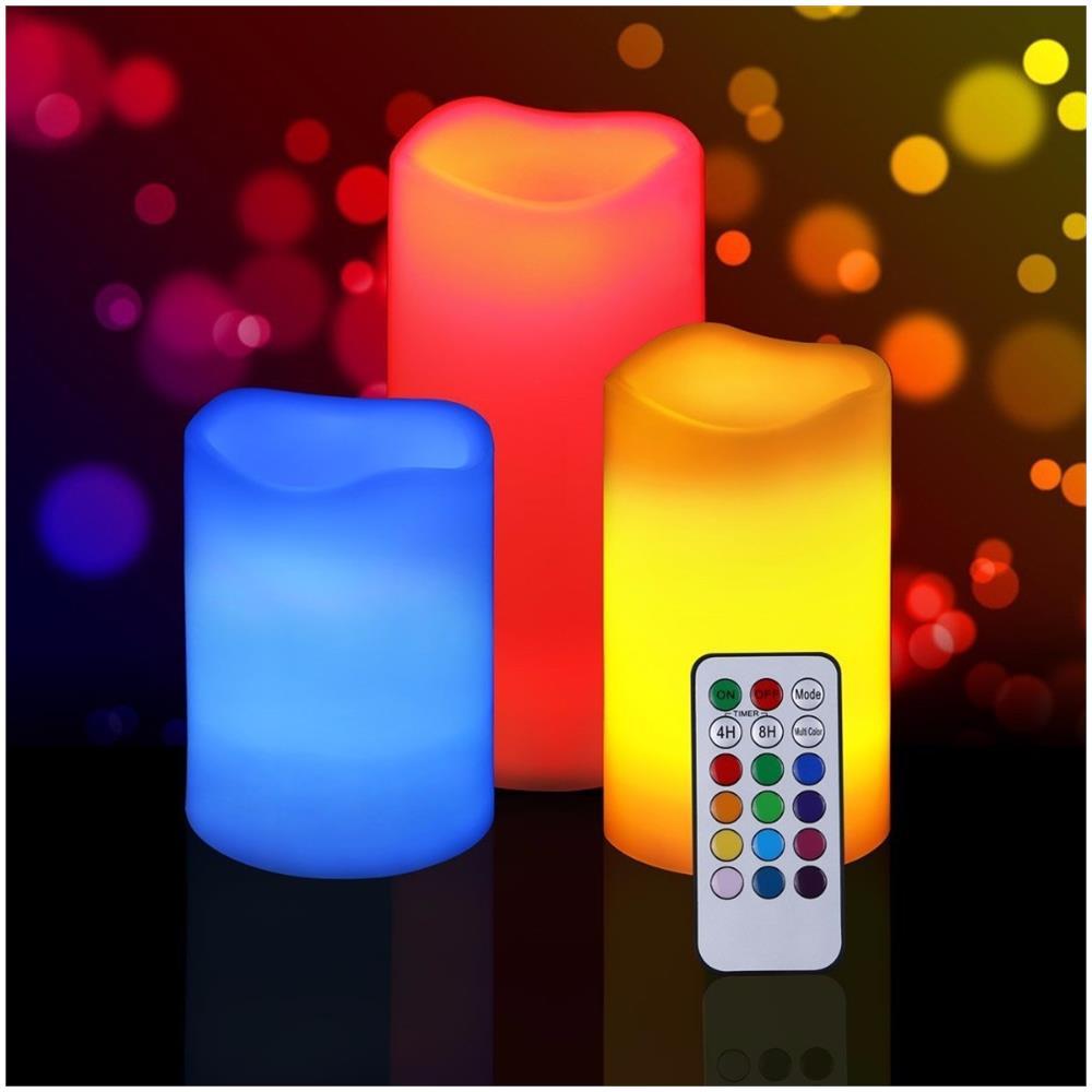 Luci Led Per Cromoterapia trade shop set 3 candele led luce rgb candela telecomando fuoco finto  cromoterapia massaggi