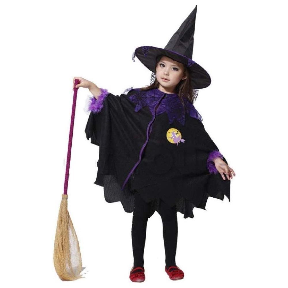 Donna Costume Da Strega Viola Halloween Fancy Dress Cappello e Abito Taglia 12-14 M//L