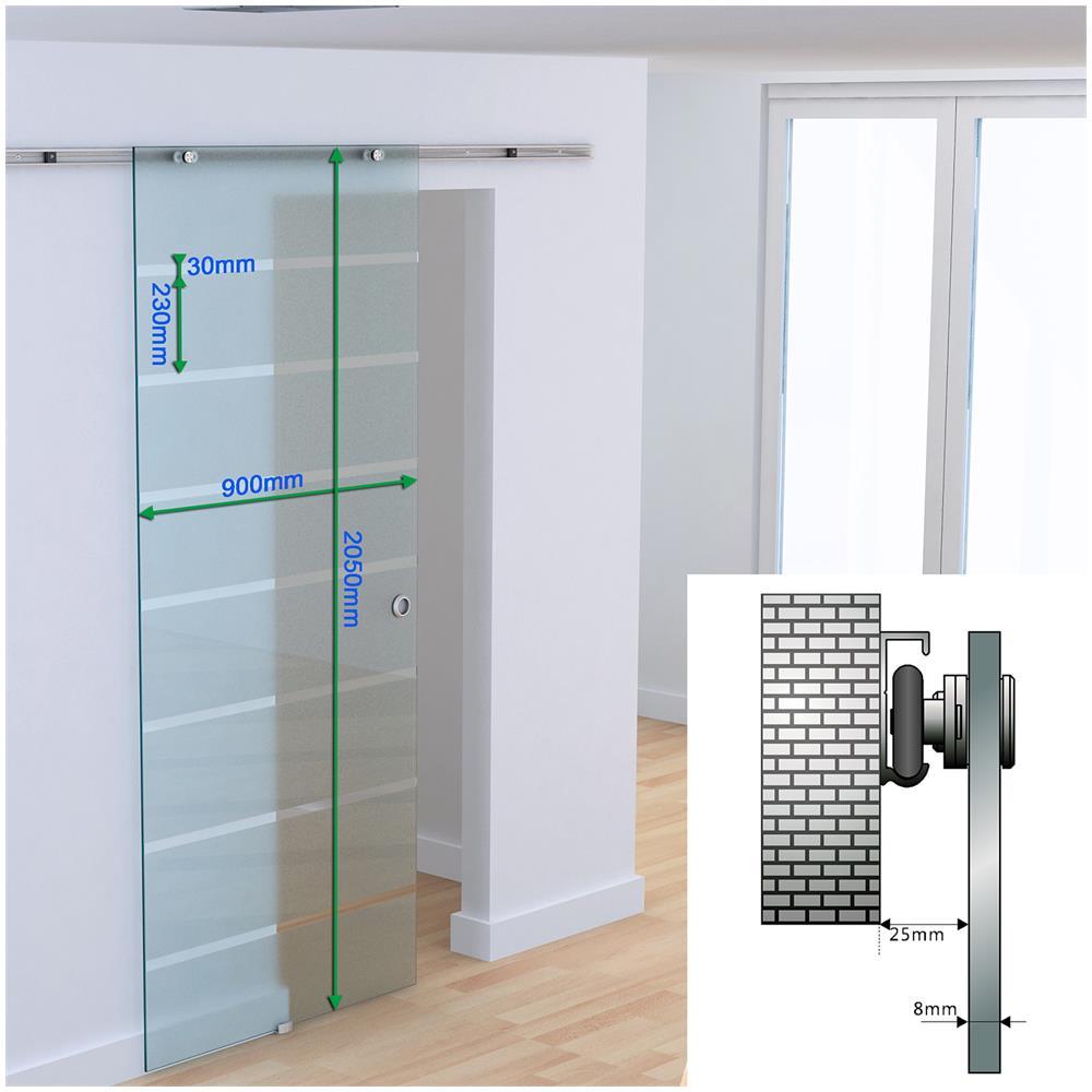 Porte Con Vetro Satinato homcom porta scorrevole con binario in alluminio in vetro satinato con  strisce trasparenti, 90x205x0.8cm