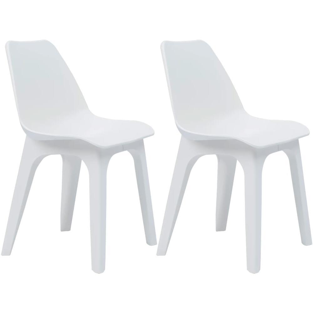 Sedie Da Esterno In Plastica.Vidaxl Sedie Da Giardino 2 Pz In Plastica Bianche Eprice