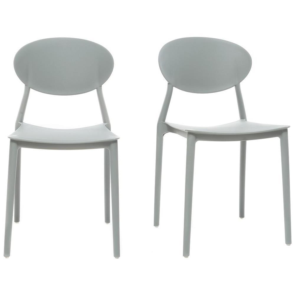 Sedie A Forma Di Sedere Costo miliboo lotto di 2 sedie design grigio in polipropilene anna