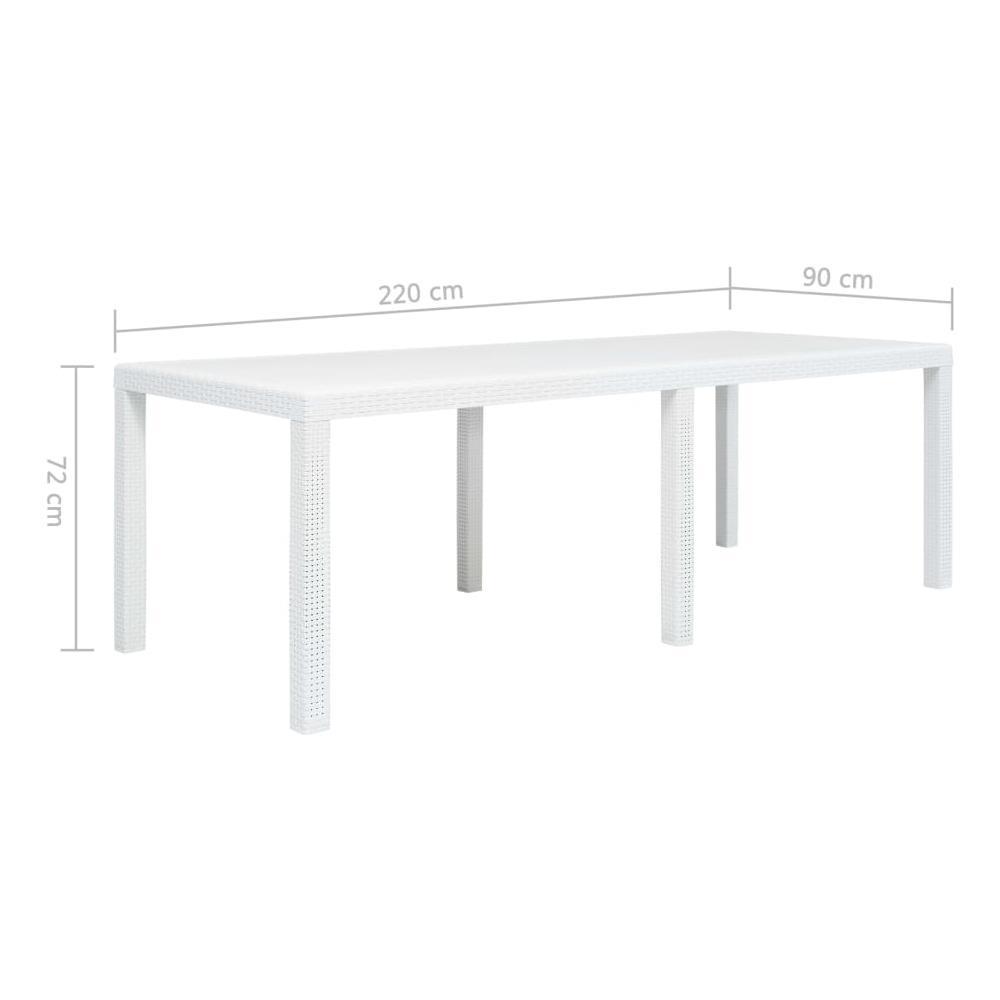 Tavolo Giardino Plastica Bianco.Vidaxl Tavolo Da Giardino Bianco 220x90x72 Cm In Plastica Stile