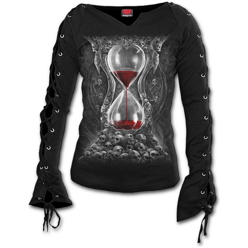 - Sands Of Death - Laceup Sleeve Top Black (Maglia Manica Lunga Donna Tg. L)