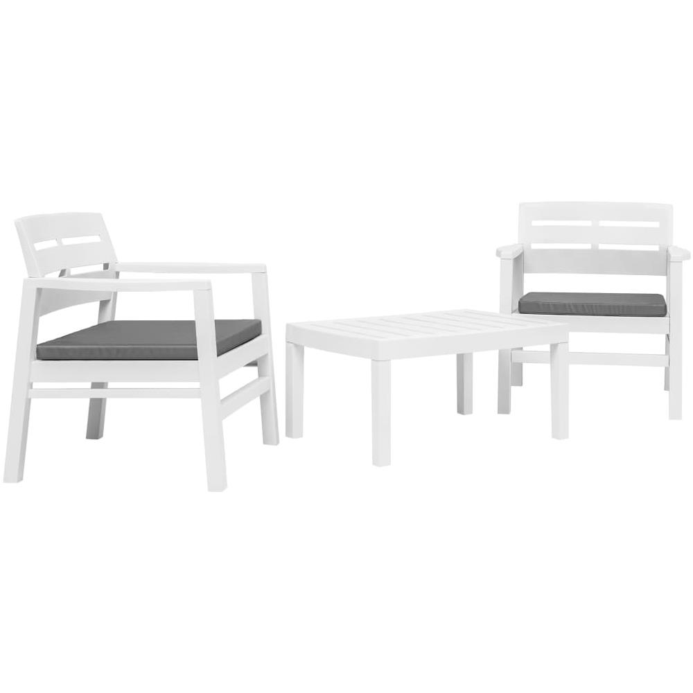 Set Da Giardino Plastica.Vidaxl Set Salotto Da Giardino 3 Pz In Plastica Bianco Eprice