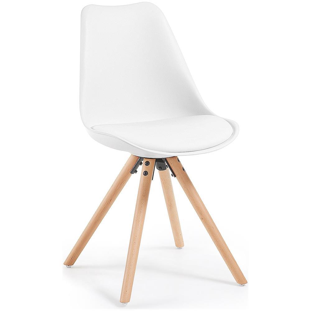 Sedute In Plastica Per Sedie.Keihome Linea J Sedia Con Piedi In Legno Seduta Plastica Bianca