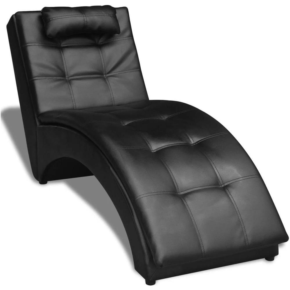 Sedie A Sdraio Per Interni.Vidaxl Sedia A Sdraio In Pelle Artificiale Con Cuscino Nera Eprice