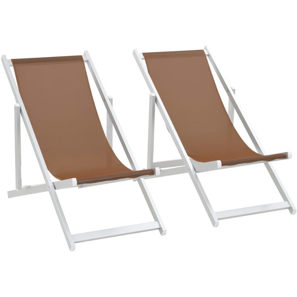 Sedie Pieghevoli Da Spiaggia.Vidaxl Sedie Da Spiaggia Pieghevoli 2 Pz Alluminio E Textilene
