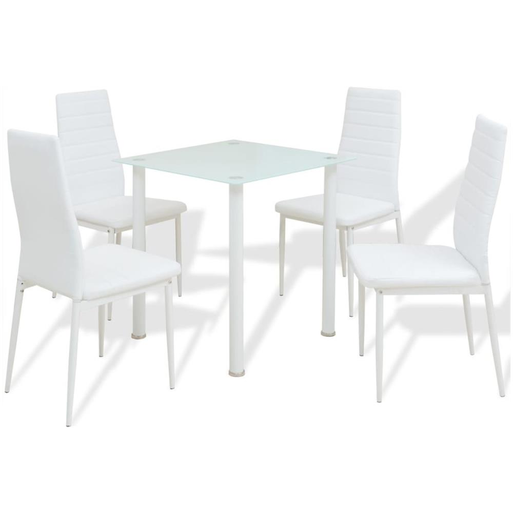 vidaXL 5 Pz Set Tavolo e Sedie Sala da Pranzo Bianco e Nero
