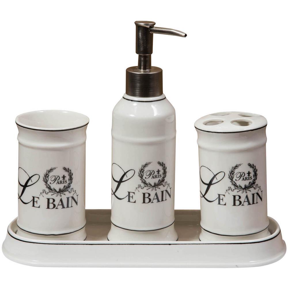 BISCOTTINI - Set Bagno \'\'le Bain Paris\'\' 4 Pezzi In Porcellana ...