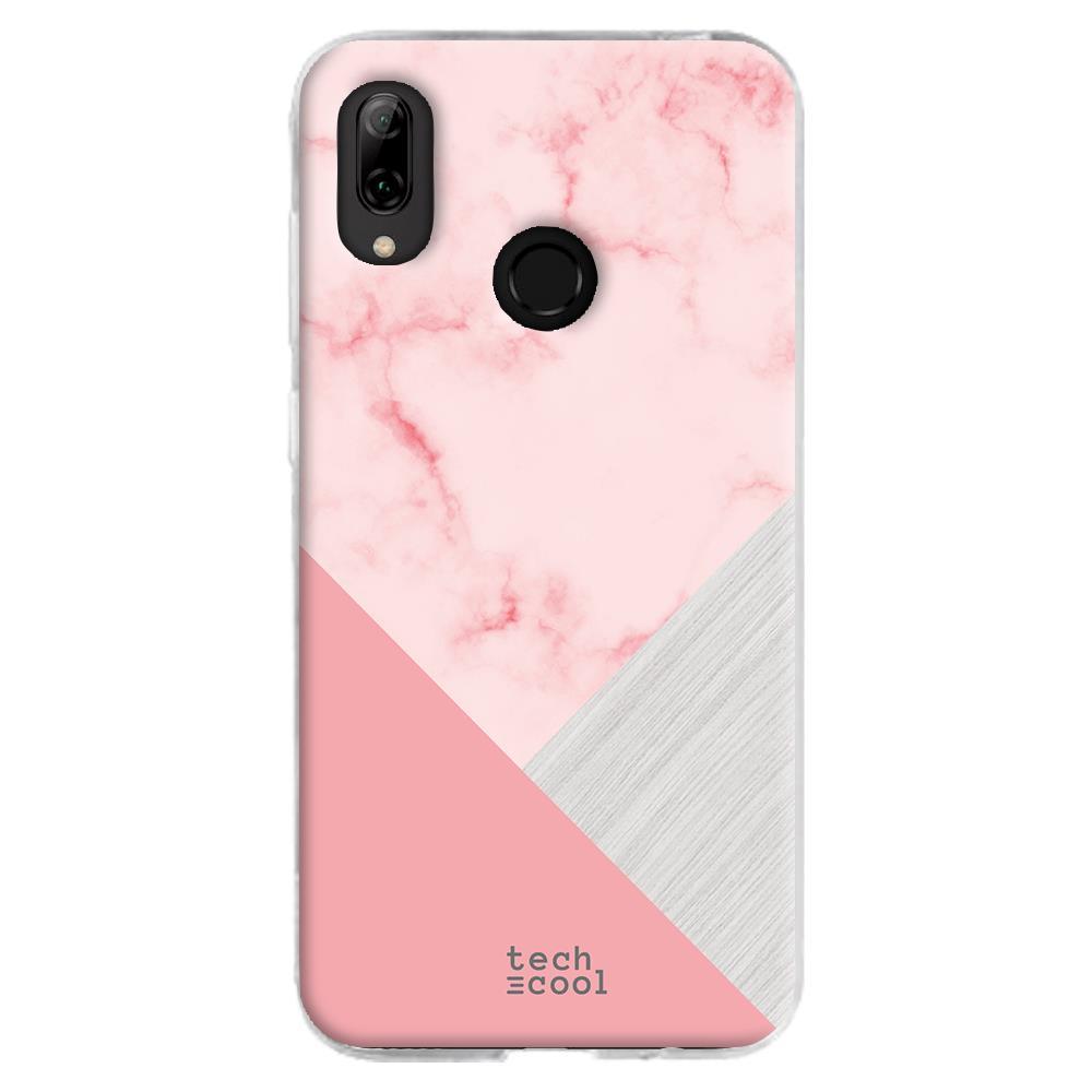 TECHCOOL Custodia Per Huawei P Smart 2019 L Cover Silicone Marmo Rosa Trama Combinato