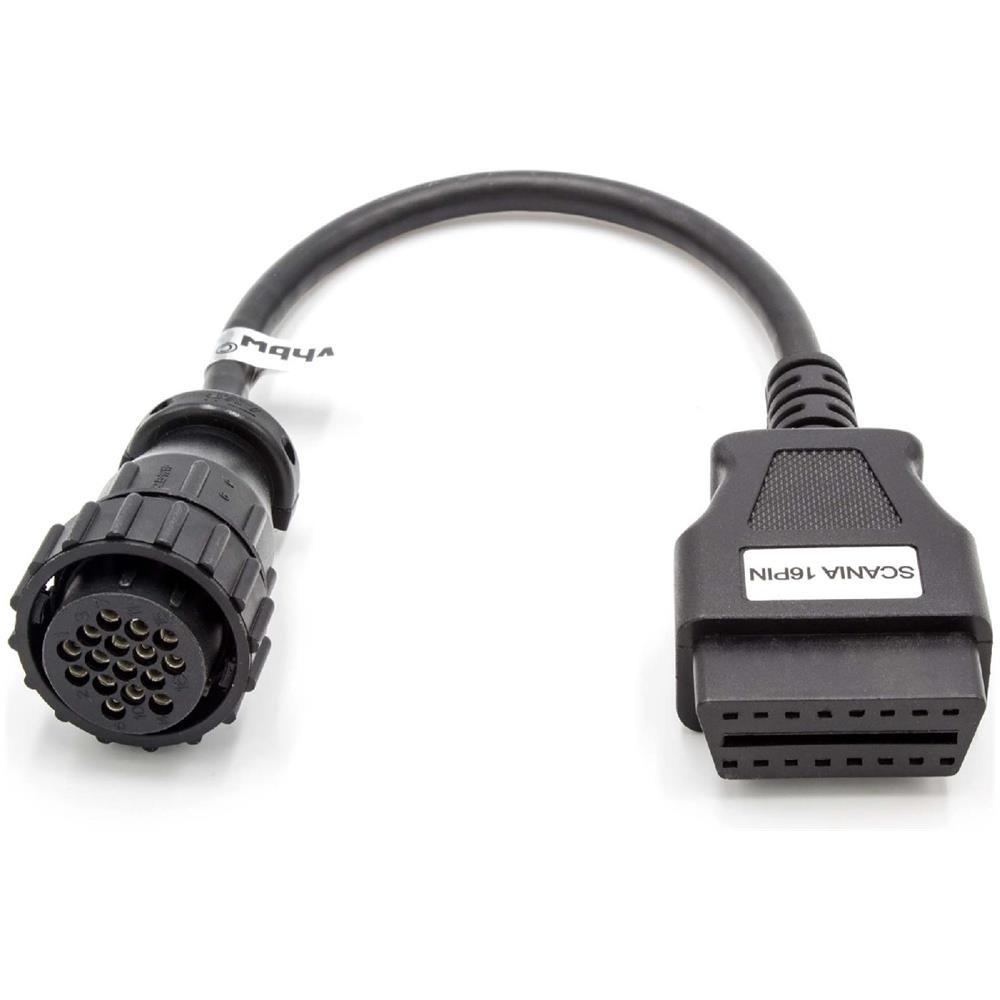 Cavo Adattatore 16Pin a 16Pin per Dispositivo diagnostico OBD Compatibile con Vecchi Modelli di Scania con Connettore da 16 Pin vhbw OBD2