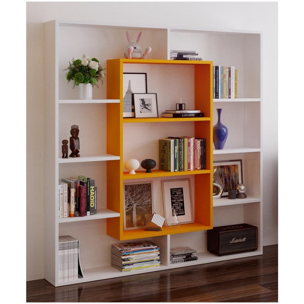 HOMIDEA Venus Libreria - Scaffale Per Libri - Scaffale Per Ufficio /  Soggiorno Dal Design Moderno (bianco / Arancione)