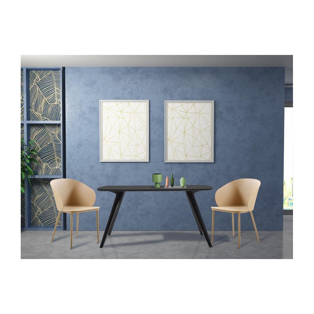 Homemania Set 2 Sedie Dalis con Schienale, Braccioli da Soggiorno, Sala da Pranzo, Scrivania, Ufficio Color Cachi, 55 x 56 x 80,5 cm