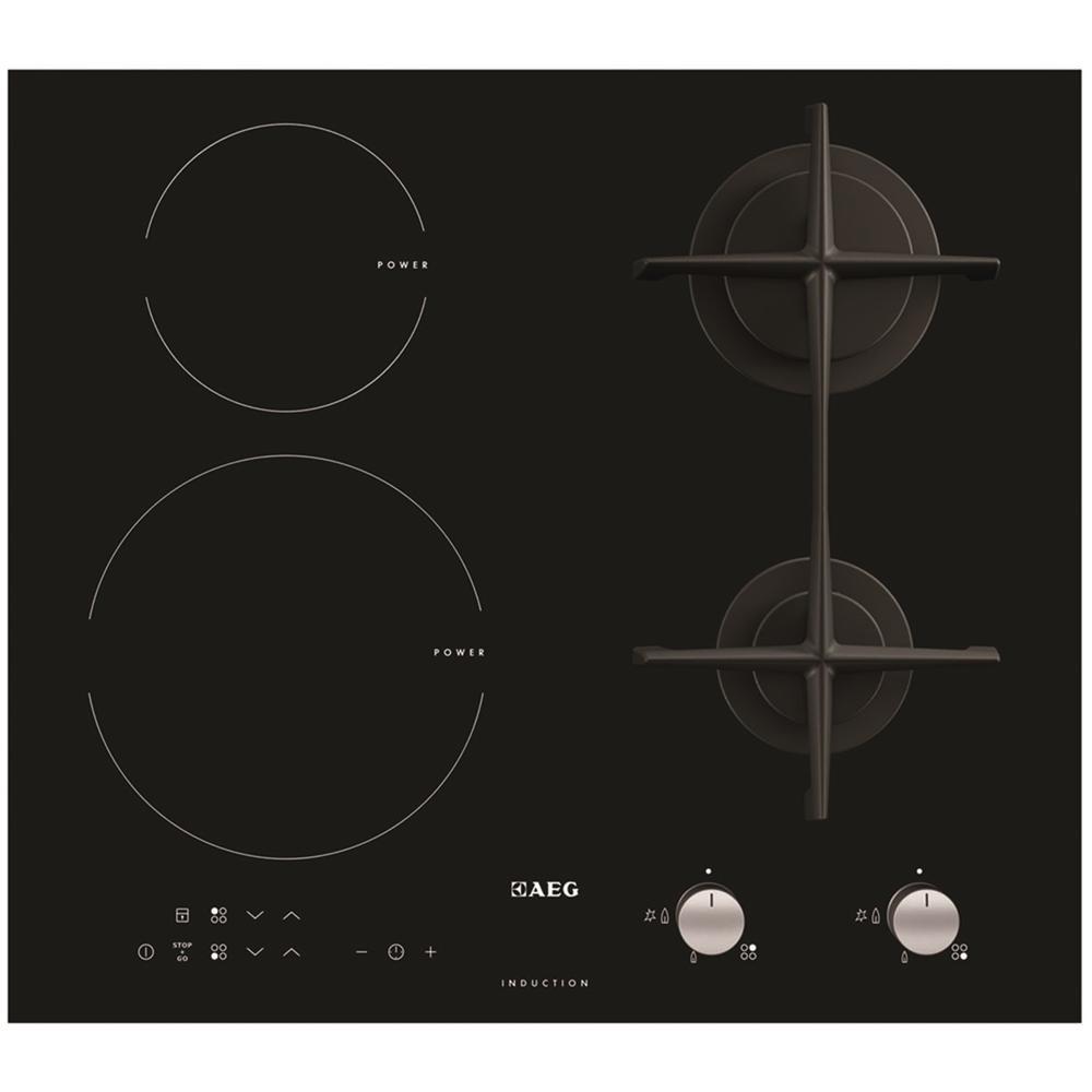 AEG Piano Cottura HD634170NB a Gas / Induzione 4 Zone da 60 cm Colore Nero