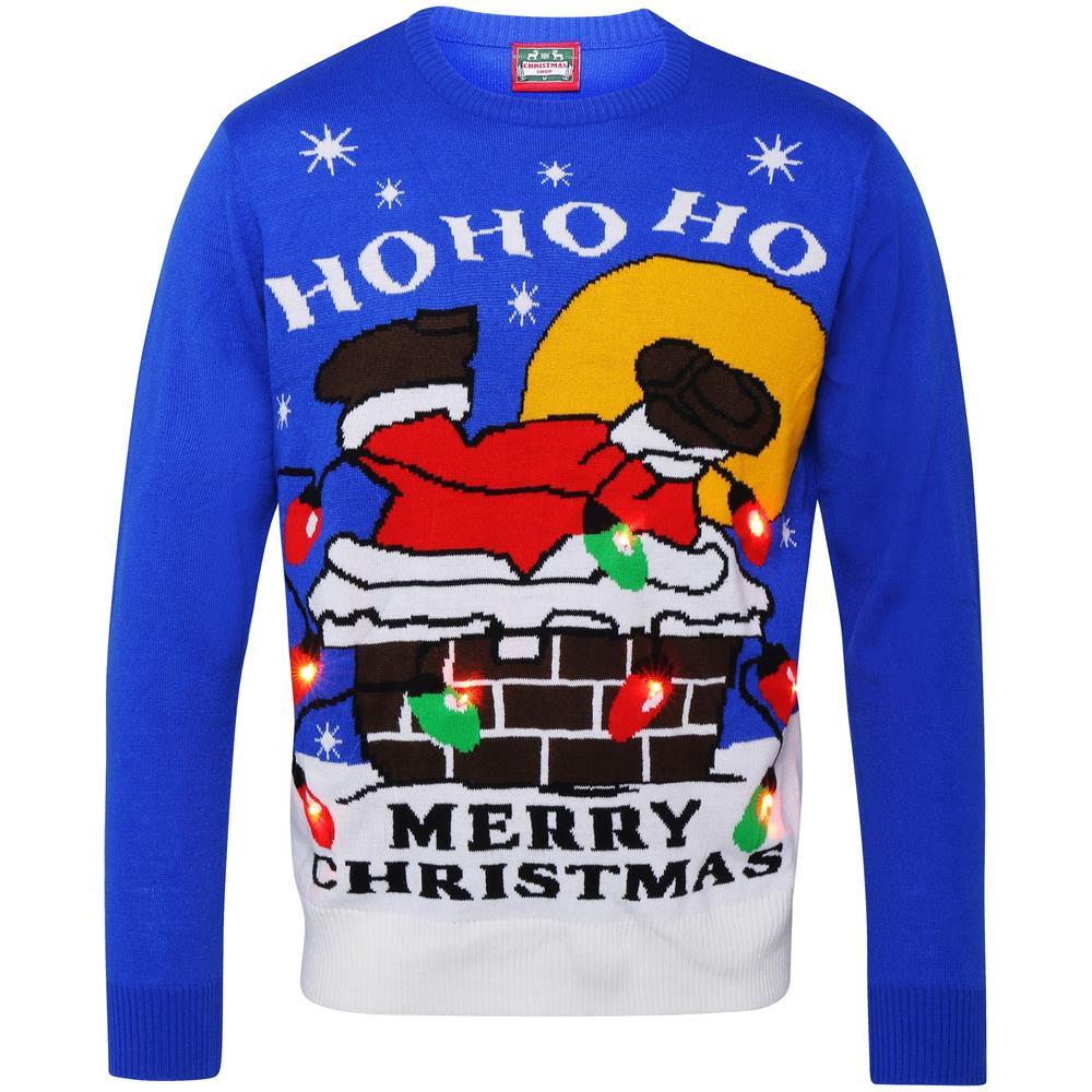 Christmas Shop Maglione Natalizio Con Babbo Natale E Luci Adulti (xxl) (blu)