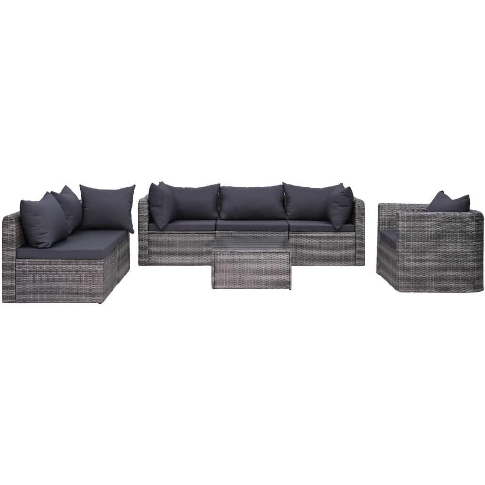 Divani Da Esterno Impermeabili vidaxl set divani da giardino 7 pz con cuscini in polyrattan grigio