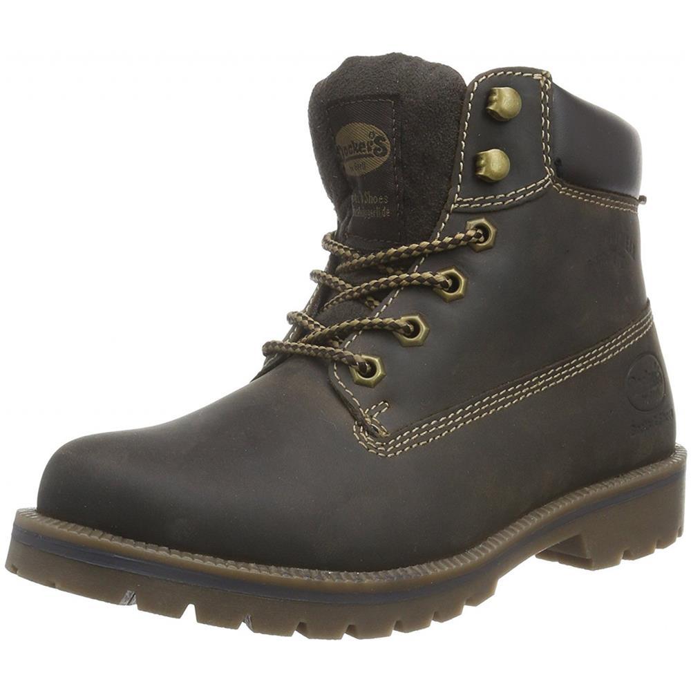 Dockers by Gerli 35AA203 Damen Schuhe Boots 360 Schoko 400 Crazy Horse Schnürer