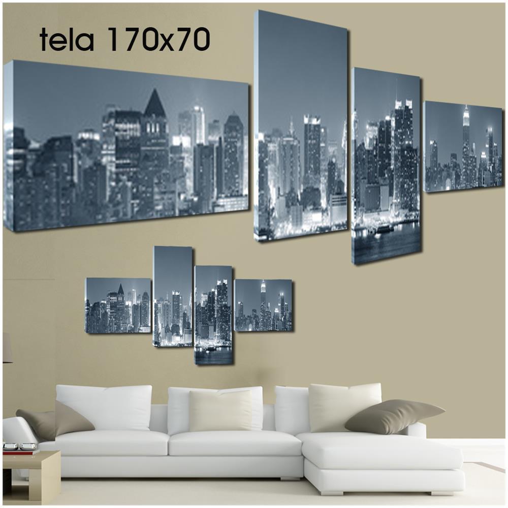 PIXEL COMUNICAZIONE Quadri Moderni Tela 170x70 4pz Paesaggio New York  Skyline Bianco E Nero Ny Arte