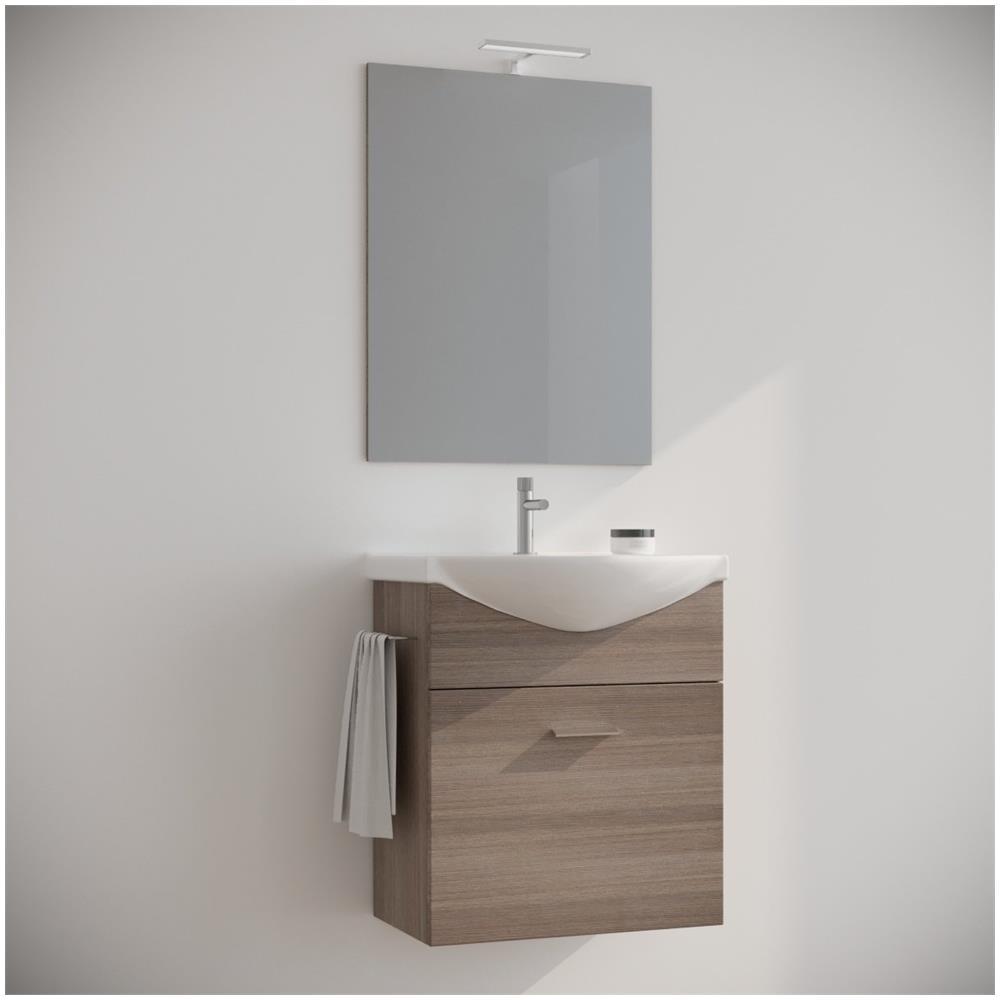 MARINELLIGROUP Mobile Bagno 60 Cm Sospeso Moderno Rovere Fumo Con Specchio  E Luce. Ginestra
