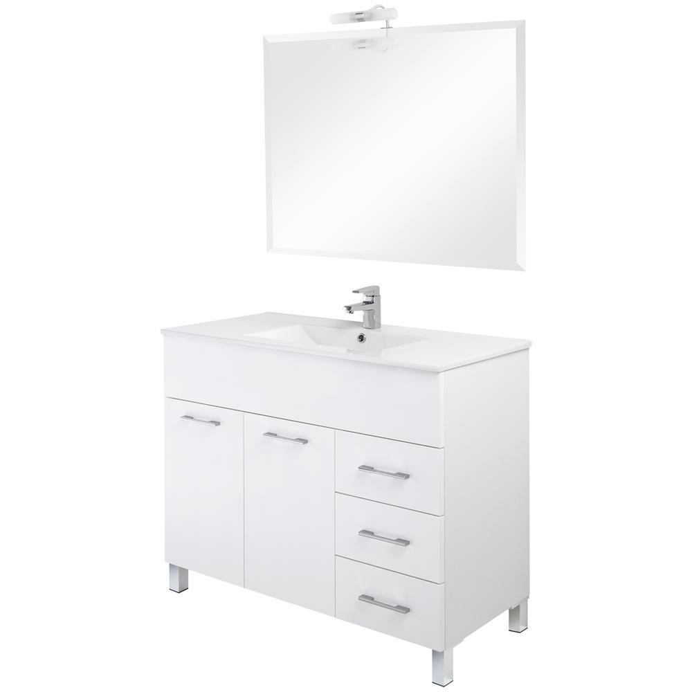 FERIDRAS - Arredo bagno con mobile lavello laccato bianco con ...